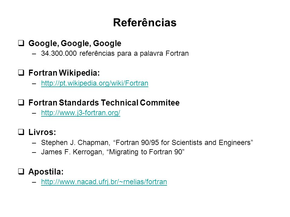 Referências Google, Google, Google Fortran Wikipedia: