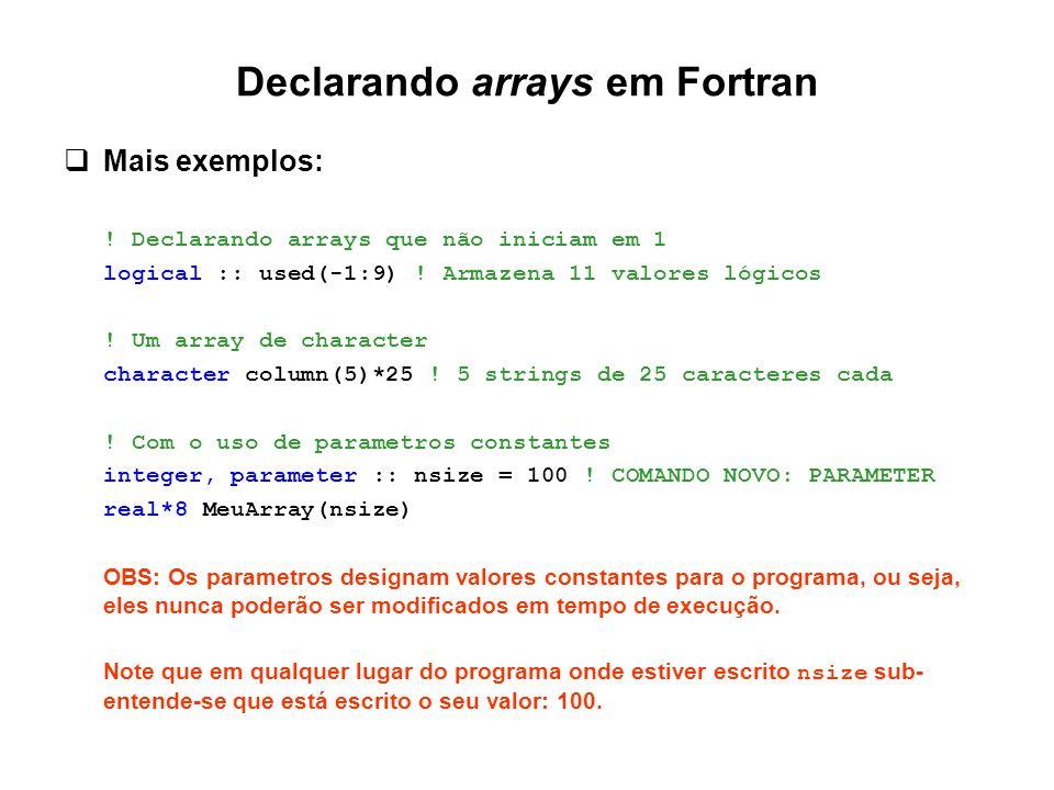 Declarando arrays em Fortran