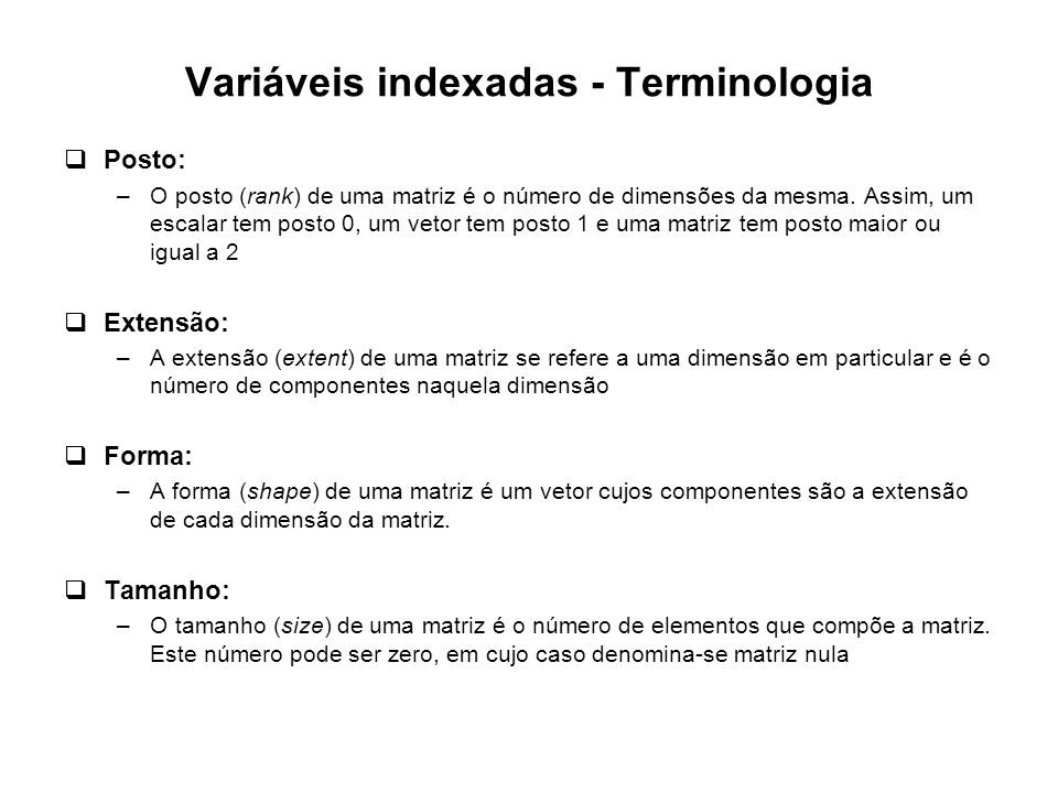 Variáveis indexadas - Terminologia