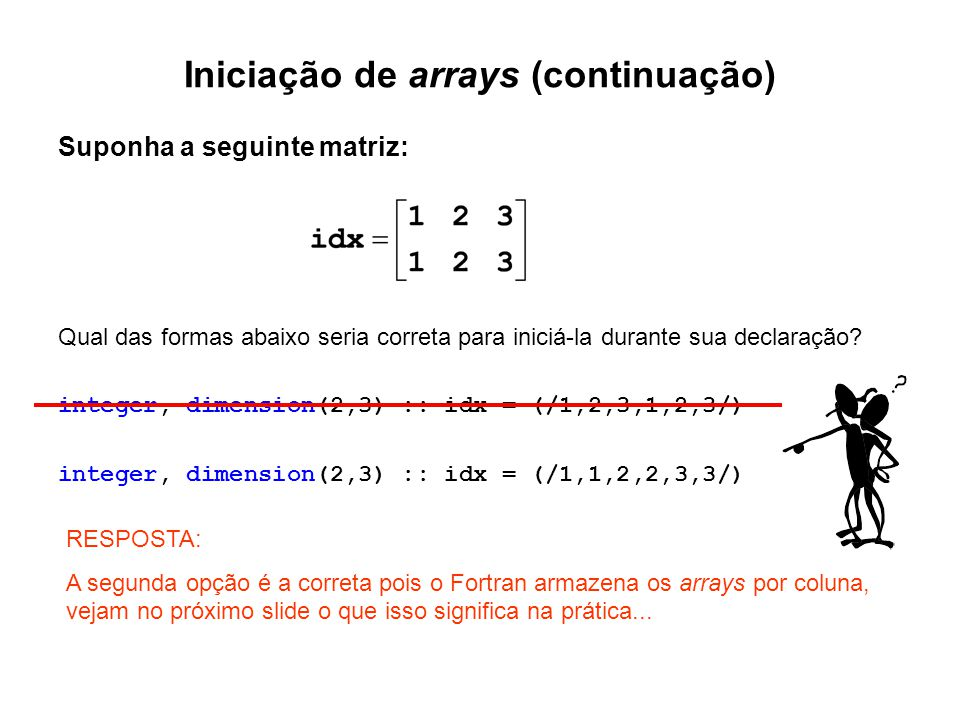 Iniciação de arrays (continuação)