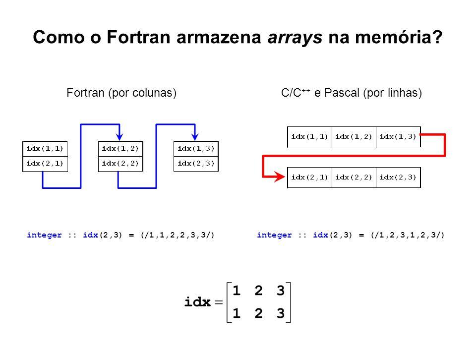 Como o Fortran armazena arrays na memória