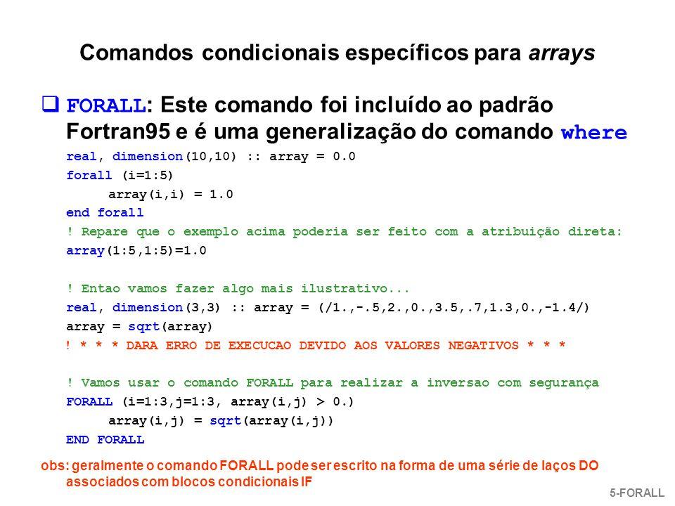 Comandos condicionais específicos para arrays