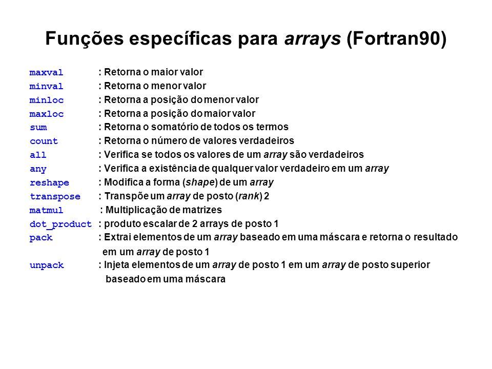 Funções específicas para arrays (Fortran90)