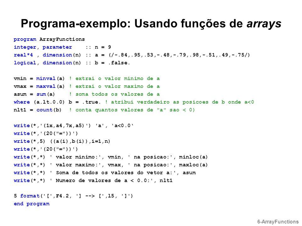 Programa-exemplo: Usando funções de arrays