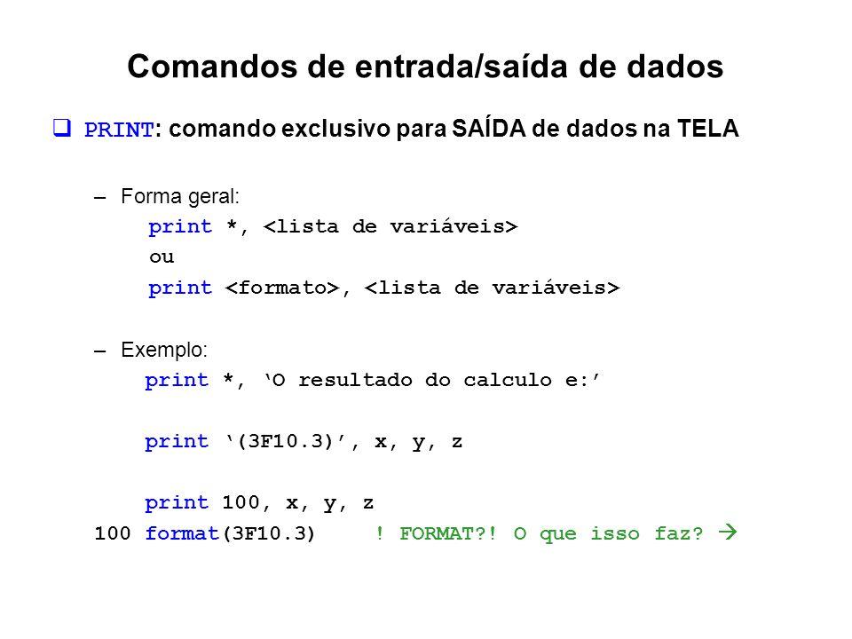 Comandos de entrada/saída de dados