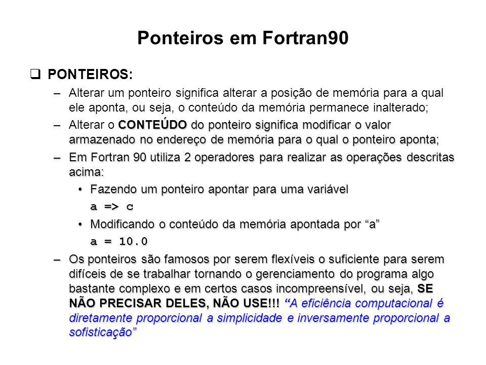 Ponteiros em Fortran90 PONTEIROS: