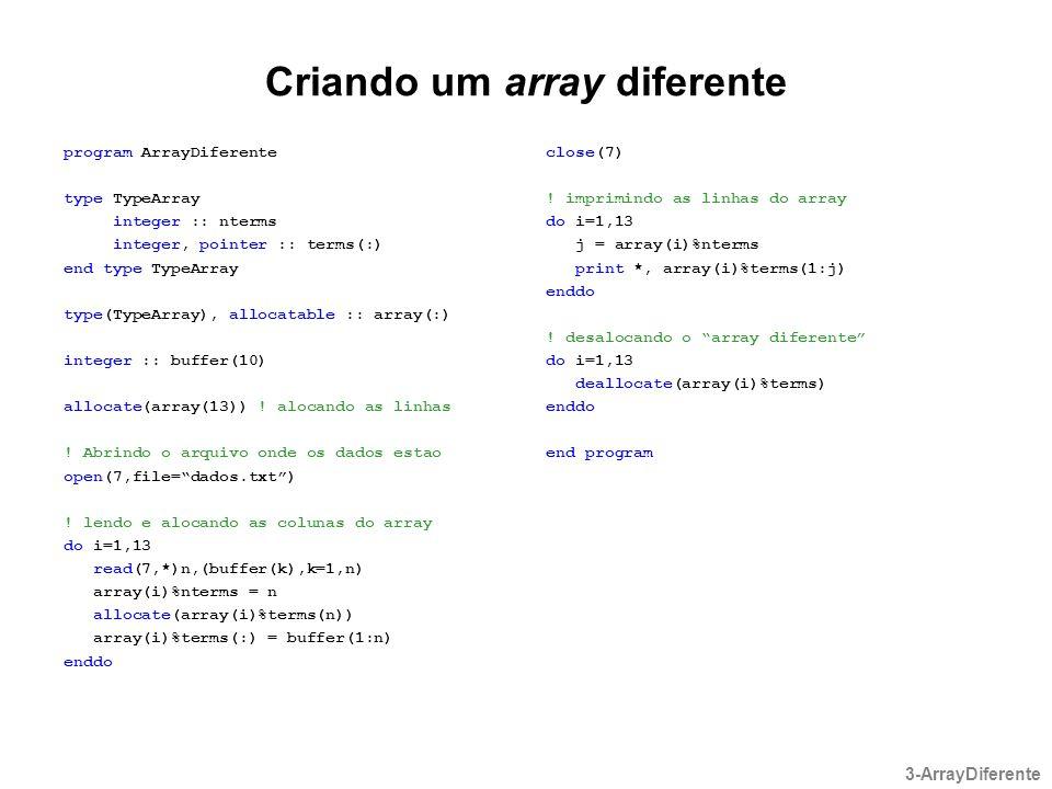 Criando um array diferente