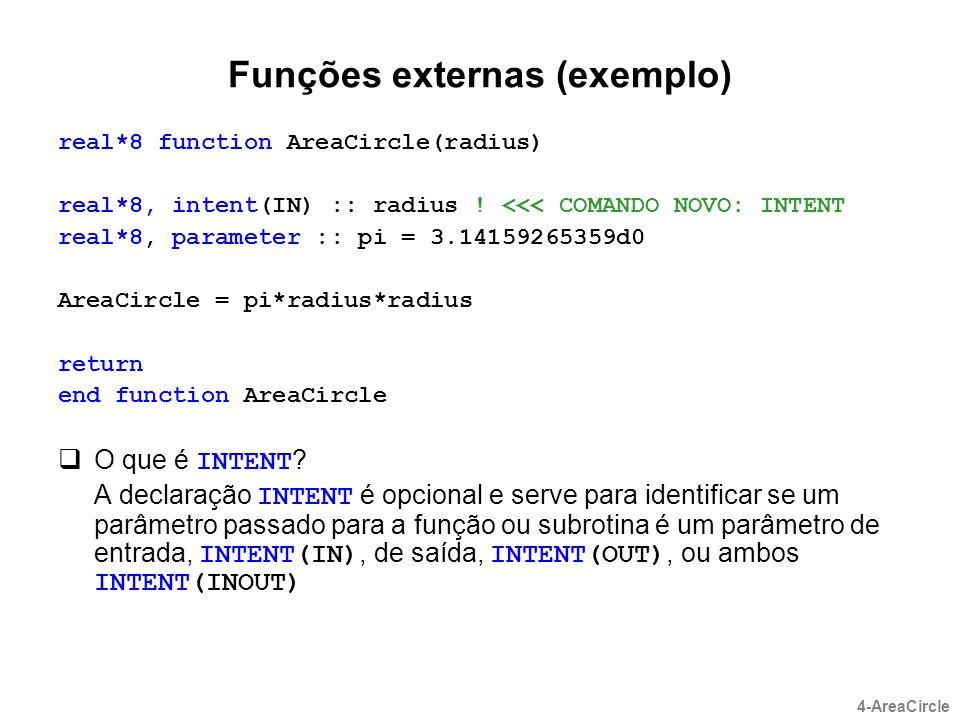 Funções externas (exemplo)