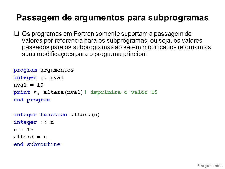Passagem de argumentos para subprogramas