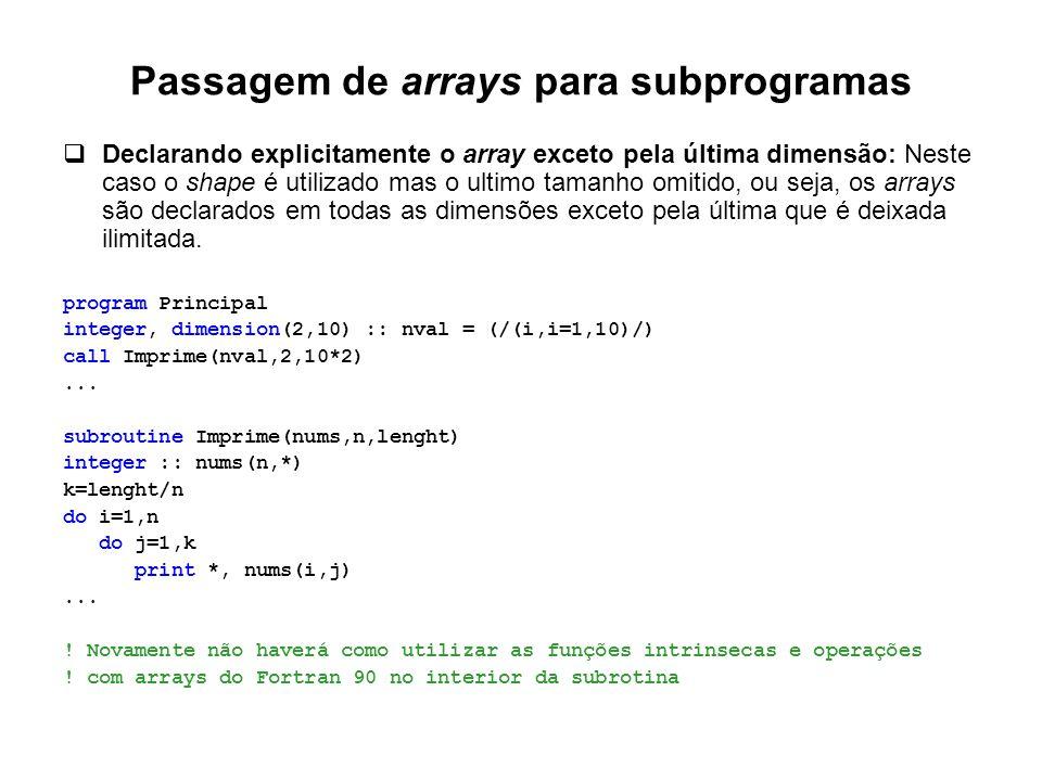 Passagem de arrays para subprogramas