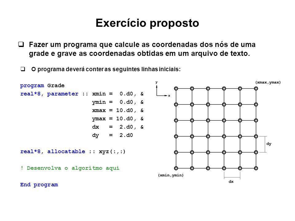 Exercício proposto Fazer um programa que calcule as coordenadas dos nós de uma grade e grave as coordenadas obtidas em um arquivo de texto.