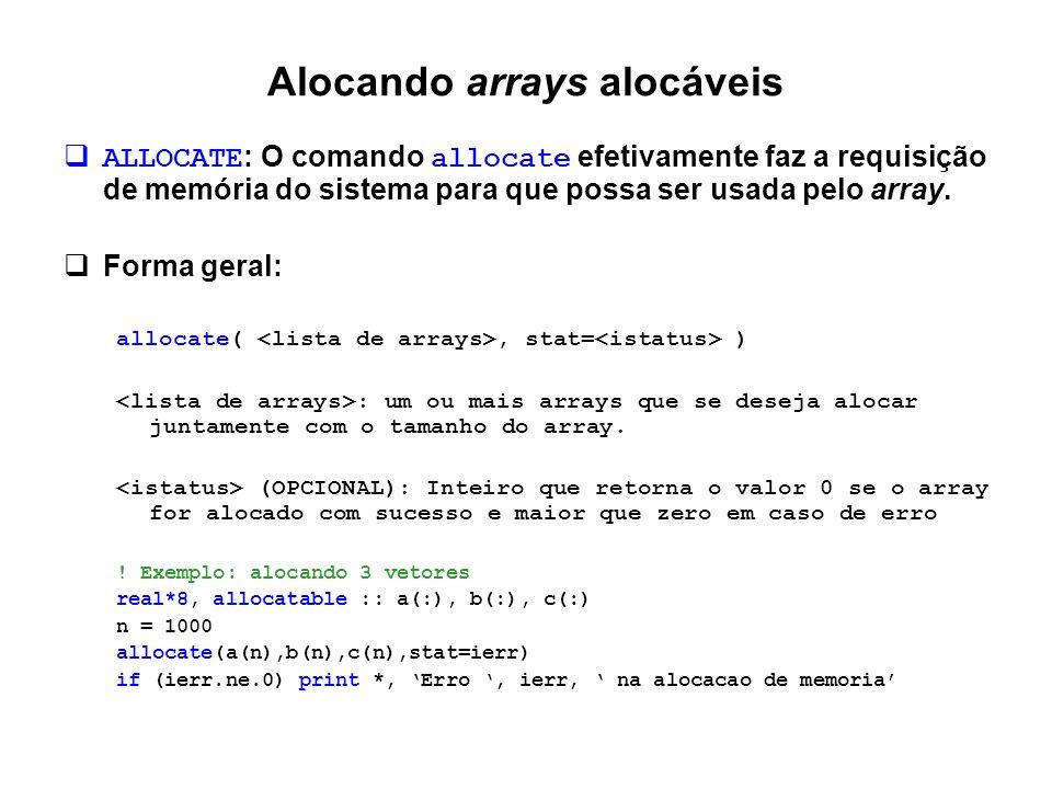 Alocando arrays alocáveis