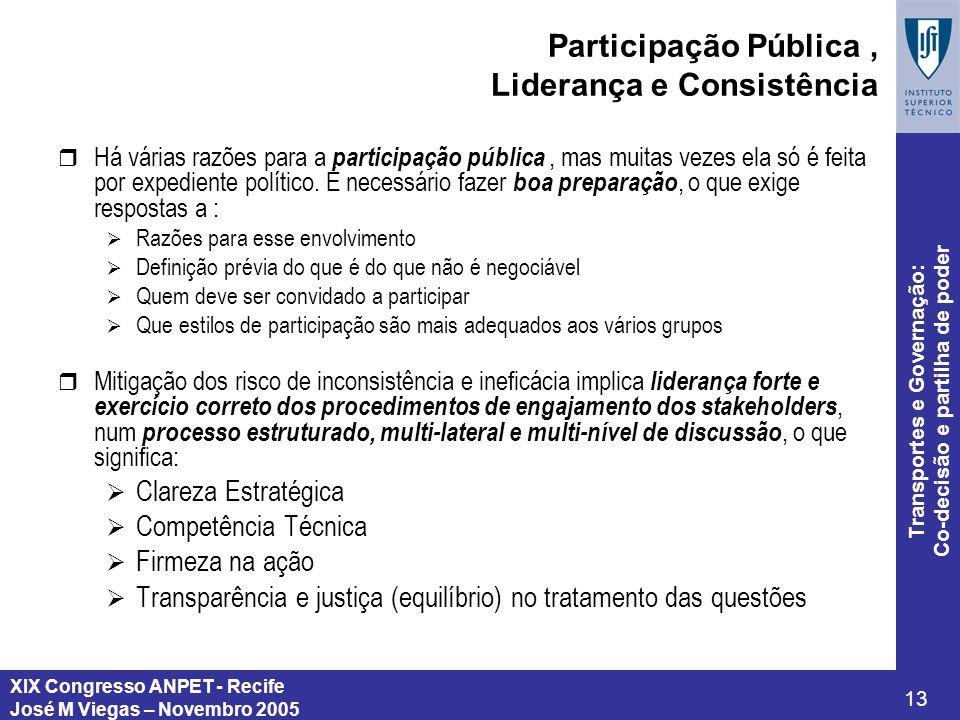 Participação Pública , Liderança e Consistência