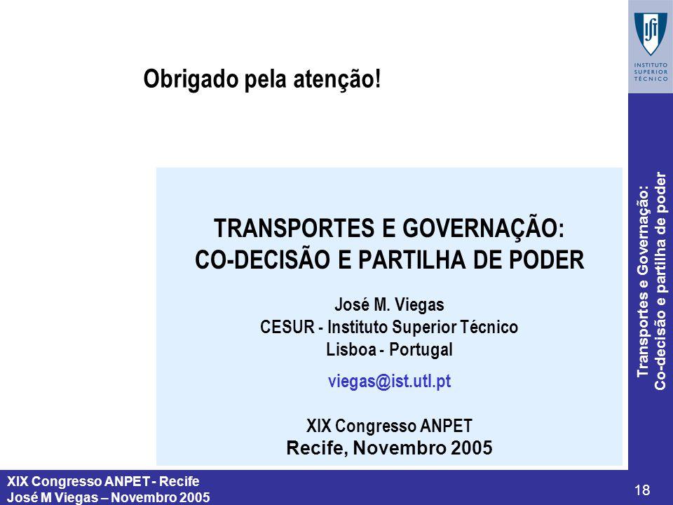 TRANSPORTES E GOVERNAÇÃO: CO-DECISÃO E PARTILHA DE PODER