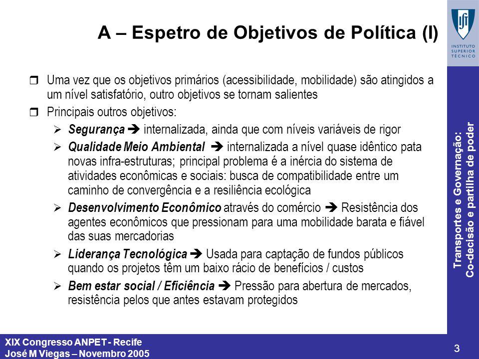 A – Espetro de Objetivos de Política (I)