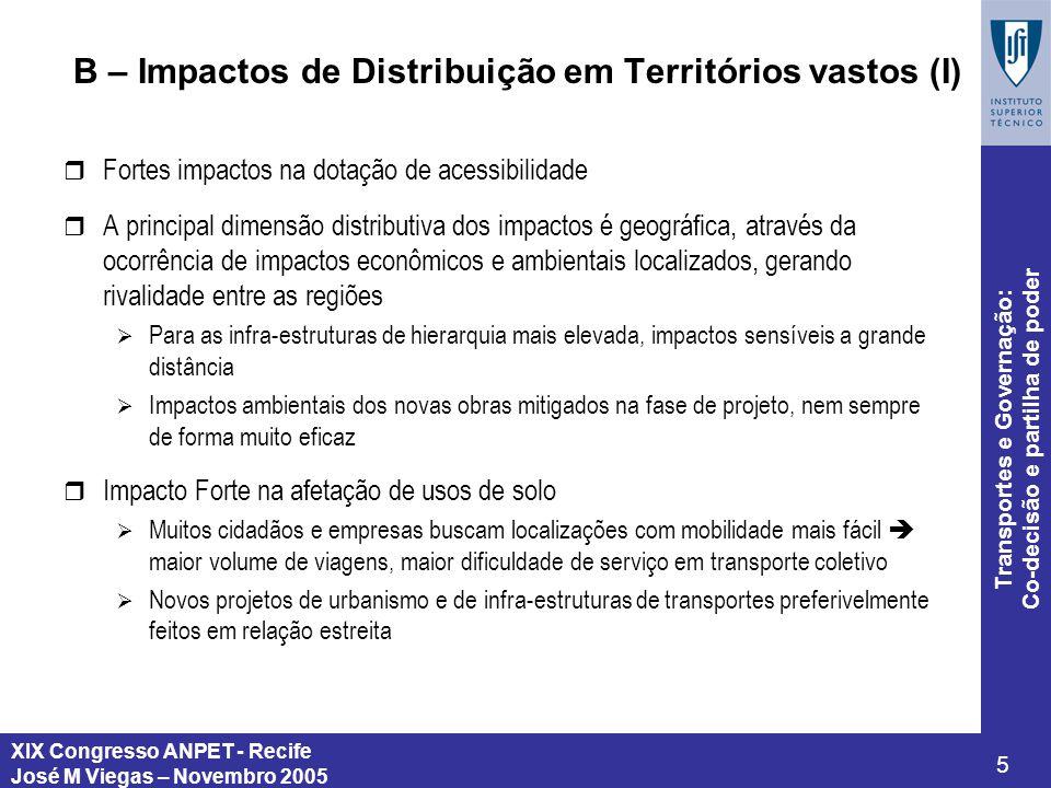 B – Impactos de Distribuição em Territórios vastos (I)
