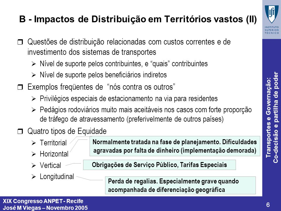 B - Impactos de Distribuição em Territórios vastos (II)