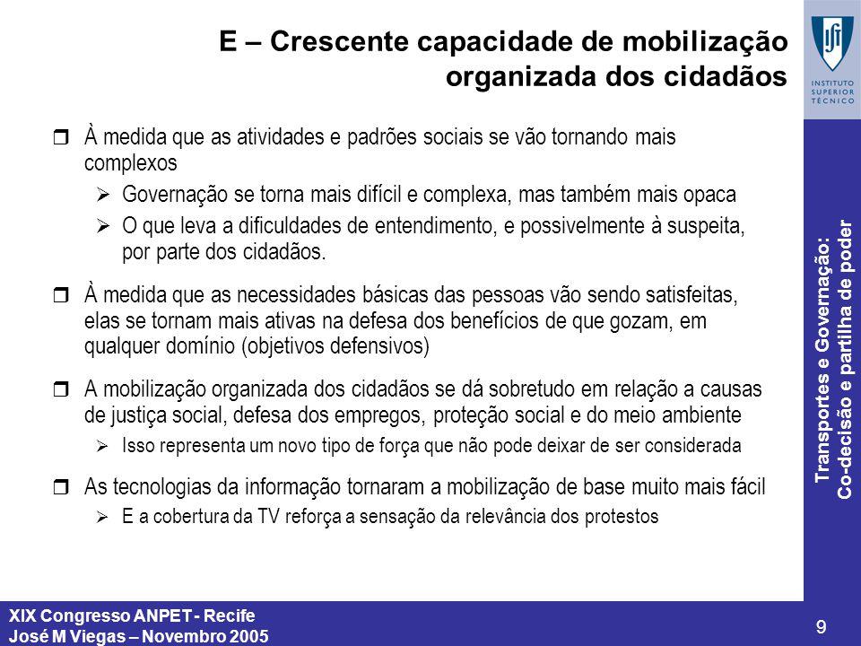 E – Crescente capacidade de mobilização organizada dos cidadãos