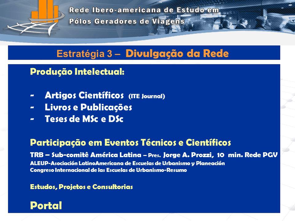 Portal Estratégia 3 – Divulgação da Rede Produção Intelectual: