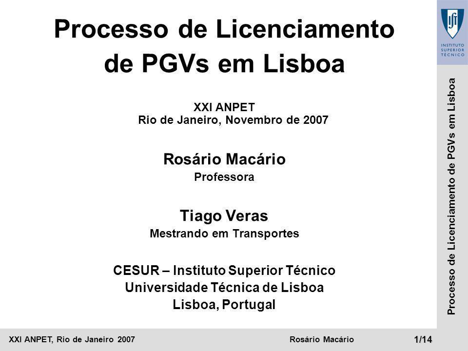 Processo de Licenciamento de PGVs em Lisboa