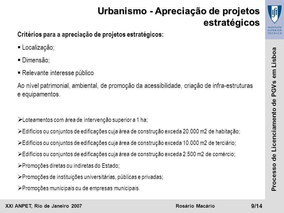 Urbanismo - Apreciação de projetos estratégicos