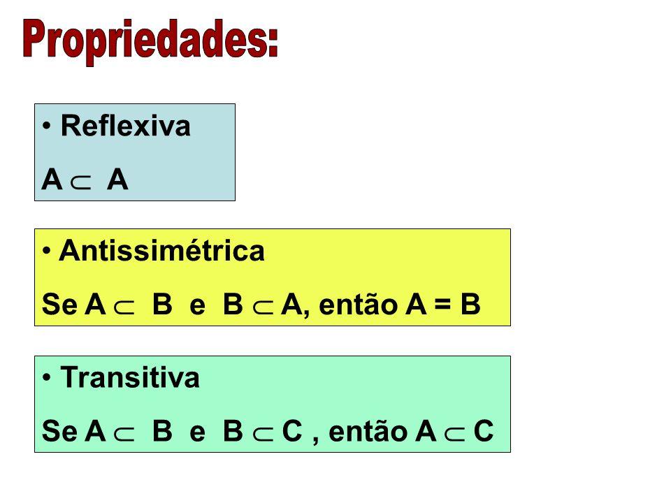 Propriedades: Reflexiva A  A Antissimétrica