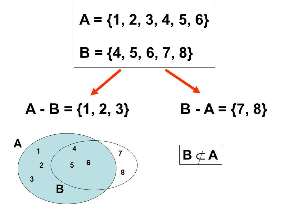 A = {1, 2, 3, 4, 5, 6} B = {4, 5, 6, 7, 8} A - B = {1, 2, 3} B - A = {7, 8} 4. 5. 6. 1. 2. 3.