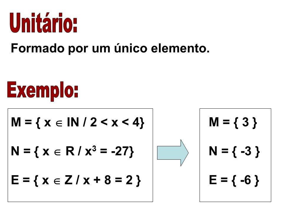 Unitário: Exemplo: Formado por um único elemento.