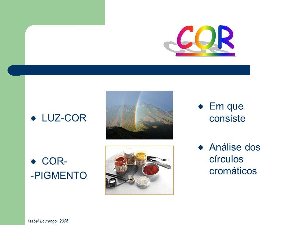 COR Em que consiste LUZ-COR Análise dos círculos cromáticos COR-