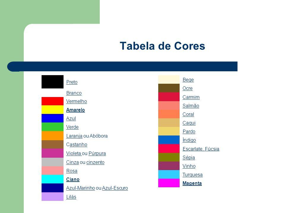 Tabela de Cores Preto Branco Vermelho Amarelo Azul Verde