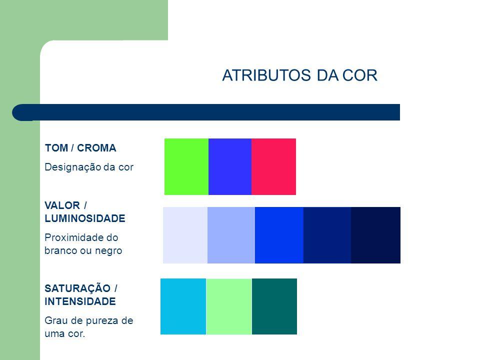 ATRIBUTOS DA COR TOM / CROMA Designação da cor VALOR / LUMINOSIDADE