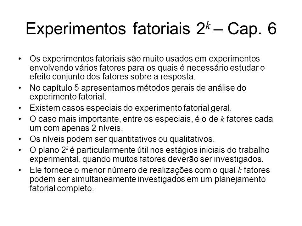 Experimentos fatoriais 2k – Cap. 6