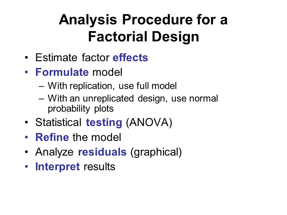 Analysis Procedure for a Factorial Design