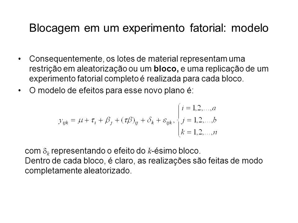 Blocagem em um experimento fatorial: modelo