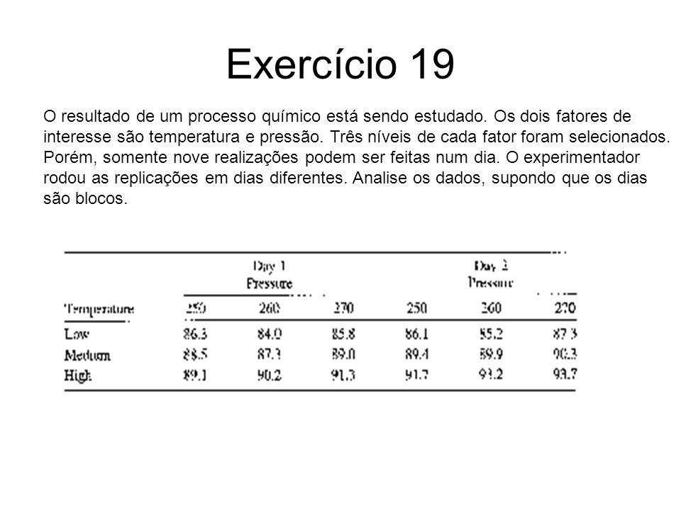 Exercício 19 O resultado de um processo químico está sendo estudado. Os dois fatores de.