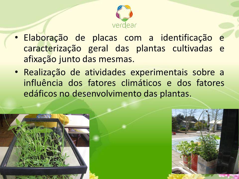 Elaboração de placas com a identificação e caracterização geral das plantas cultivadas e afixação junto das mesmas.