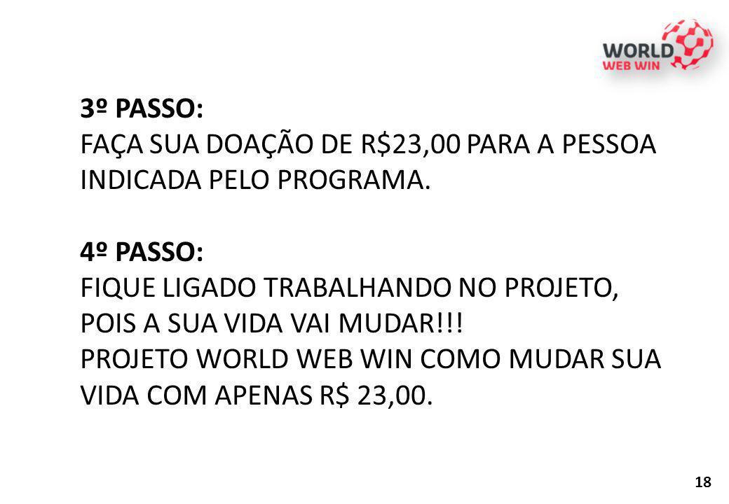 FAÇA SUA DOAÇÃO DE R$23,00 PARA A PESSOA INDICADA PELO PROGRAMA.
