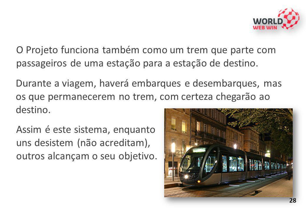 O Projeto funciona também como um trem que parte com passageiros de uma estação para a estação de destino.