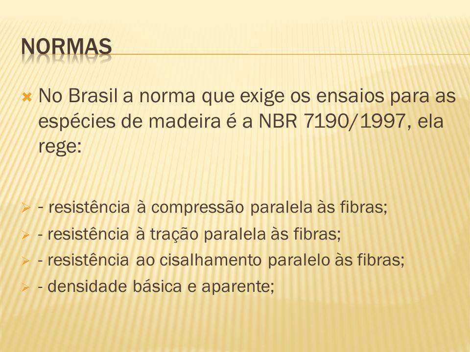 NORMAS No Brasil a norma que exige os ensaios para as espécies de madeira é a NBR 7190/1997, ela rege: