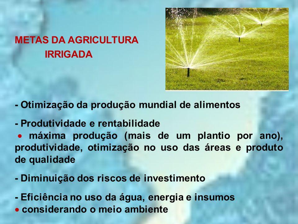 METAS DA AGRICULTURA IRRIGADA. - Otimização da produção mundial de alimentos. - Produtividade e rentabilidade.