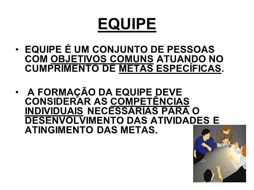 EQUIPE EQUIPE É UM CONJUNTO DE PESSOAS COM OBJETIVOS COMUNS ATUANDO NO CUMPRIMENTO DE METAS ESPECÍFICAS.
