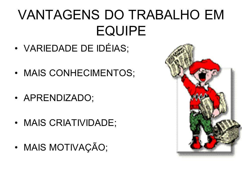 VANTAGENS DO TRABALHO EM EQUIPE