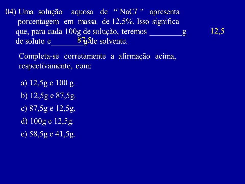 04) Uma solução aquosa de NaCl apresenta