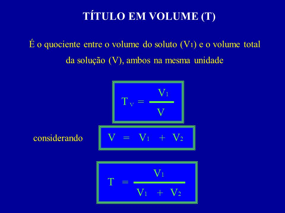 TÍTULO EM VOLUME (T) V1 T = V V = V1 + V2 V1 T = V1 + V2