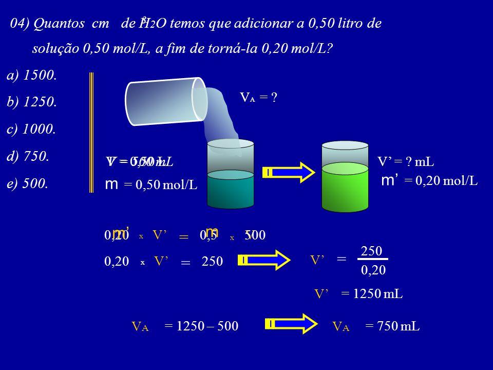 m' = 0,20 mol/L m = 0,50 mol/L m' m = = =