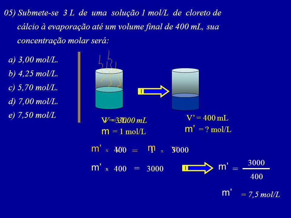 m' = mol/L m = 1 mol/L m m' = m' m' = = m'