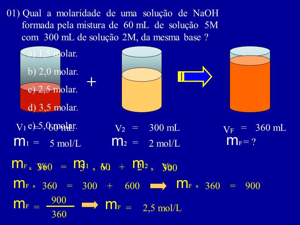 01) Qual a molaridade de uma solução de NaOH