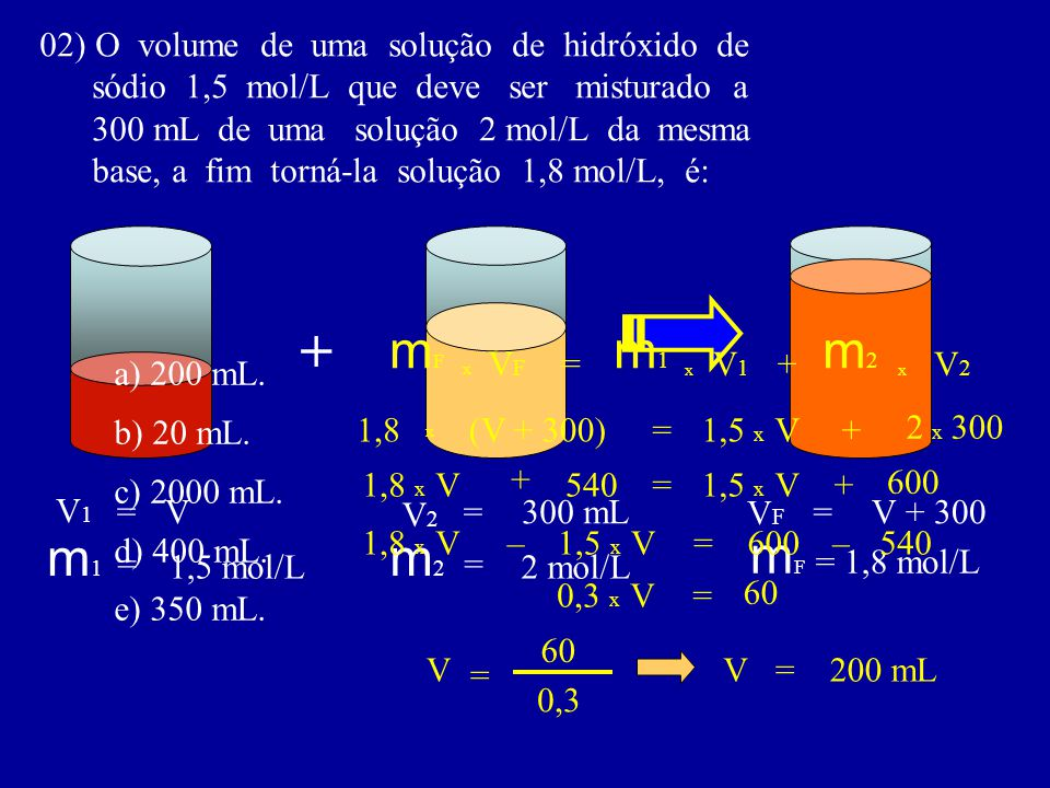 02) O volume de uma solução de hidróxido de