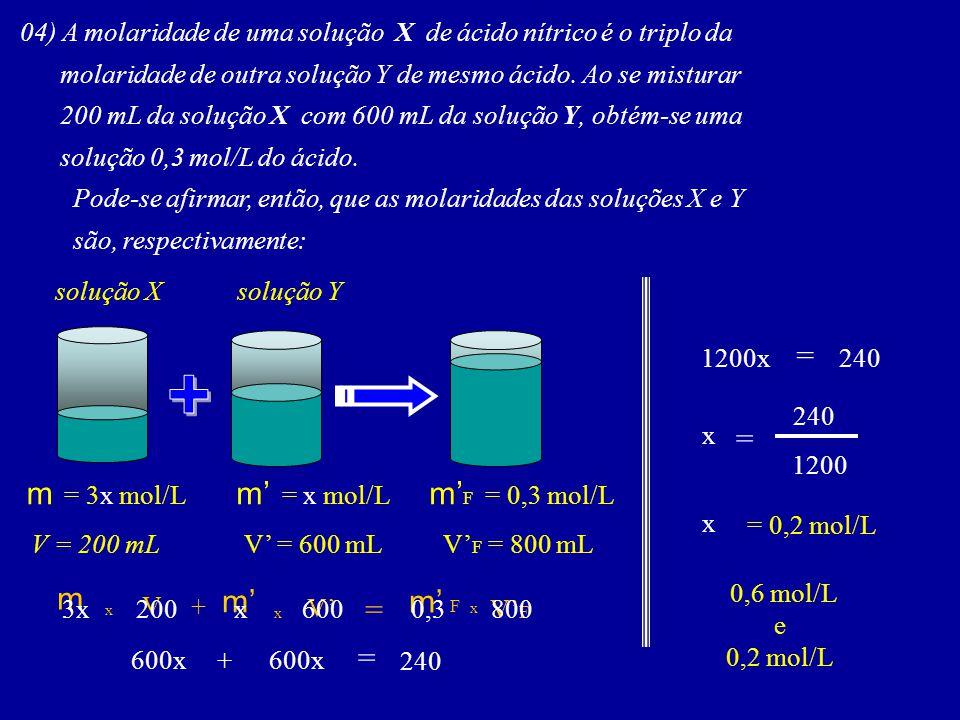 + = = m = 3x mol/L m' = x mol/L m'F = 0,3 mol/L m m' m' F = =