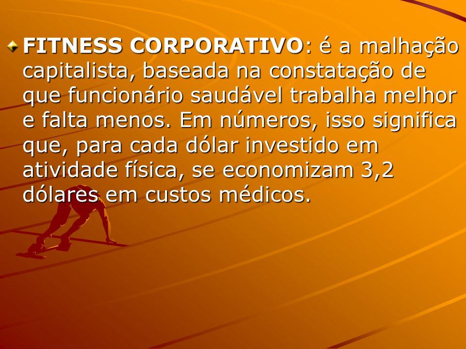 FITNESS CORPORATIVO: é a malhação capitalista, baseada na constatação de que funcionário saudável trabalha melhor e falta menos.
